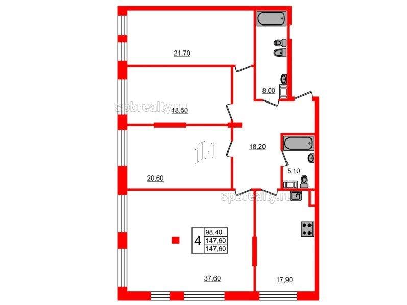 Планировка Четырёхкомнатная квартира площадью 147.6 кв.м в ЖК «Fusion»