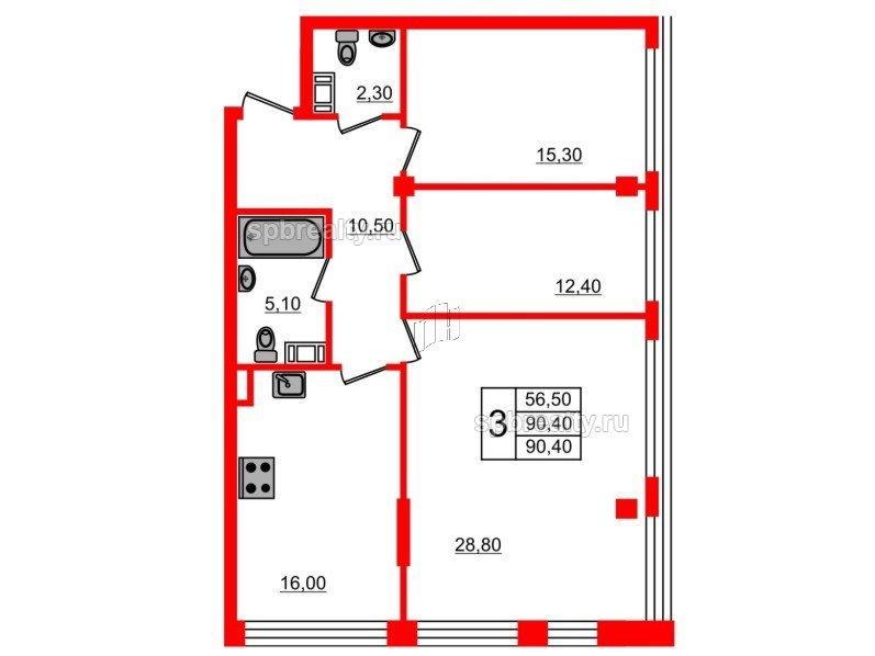 Планировка Трёхкомнатная квартира площадью 90.4 кв.м в ЖК «Fusion»