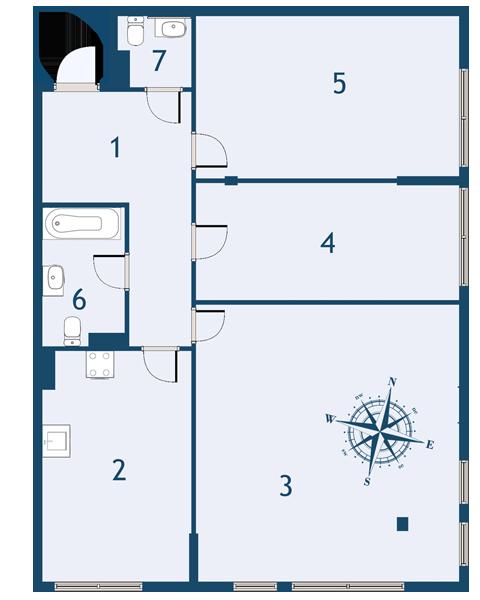 Планировка Трёхкомнатная квартира площадью 95 кв.м в ЖК «Fusion»