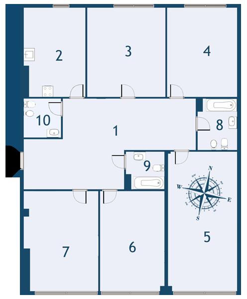 Планировка Пятикомнатная квартира площадью 173.2 кв.м в ЖК «Fusion»