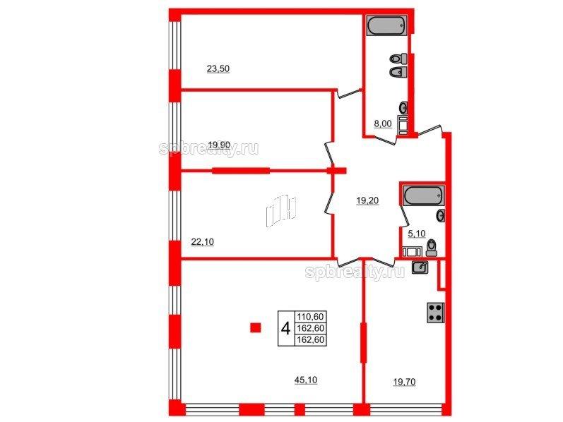 Планировка Четырёхкомнатная квартира площадью 162.6 кв.м в ЖК «Fusion»
