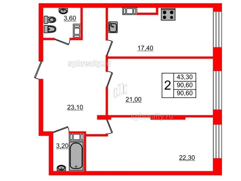 Планировка Двухкомнатная квартира площадью 90.6 кв.м в ЖК «Fusion»