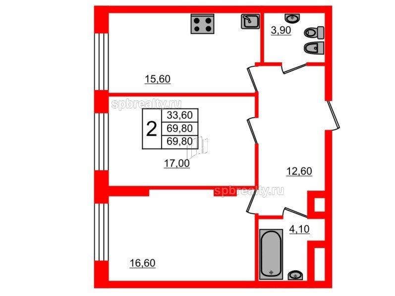 Планировка Двухкомнатная квартира площадью 69.8 кв.м в ЖК «Fusion»