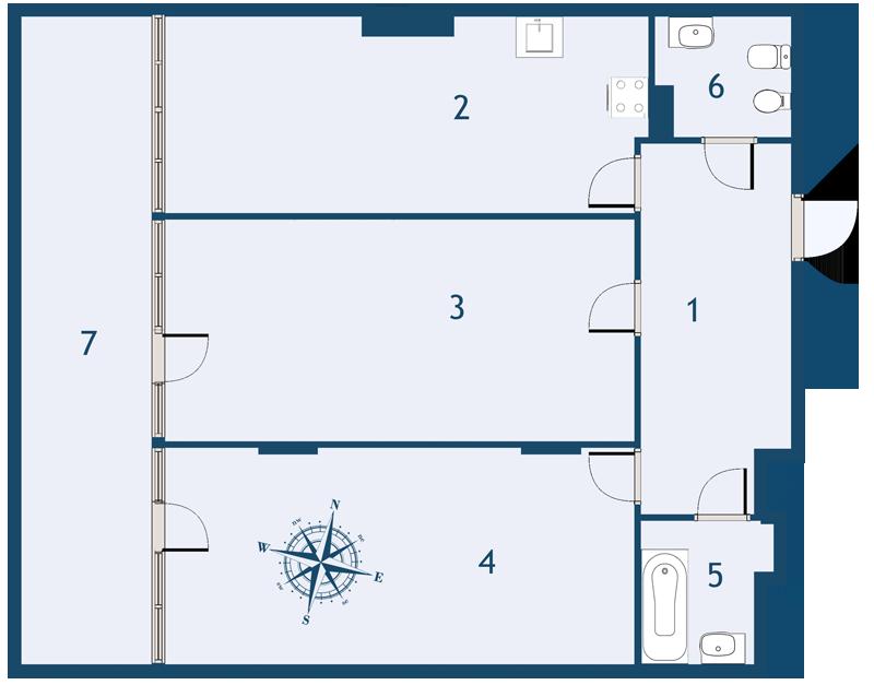 Планировка Двухкомнатная квартира площадью 84.6 кв.м в ЖК «Fusion»