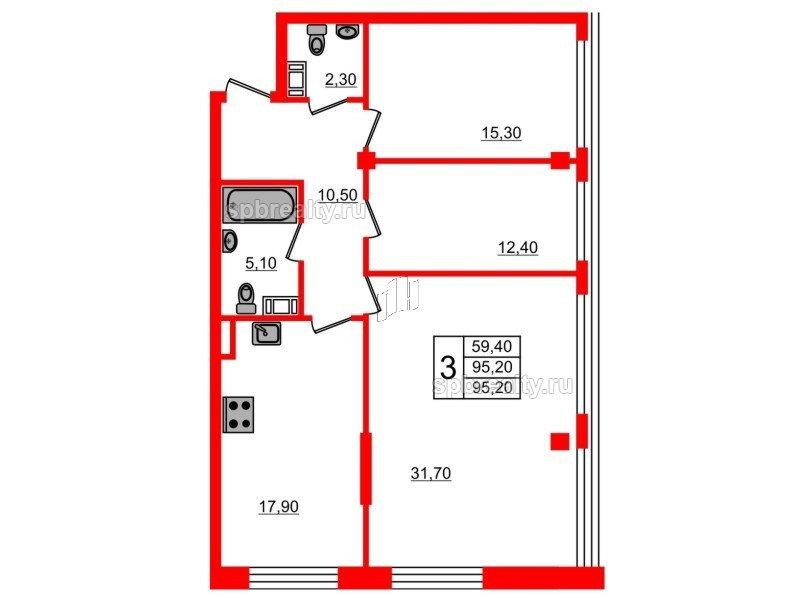 Планировка Трёхкомнатная квартира площадью 95.2 кв.м в ЖК «Fusion»