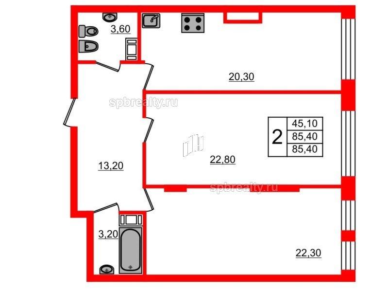 Планировка Двухкомнатная квартира площадью 85.4 кв.м в ЖК «Fusion»