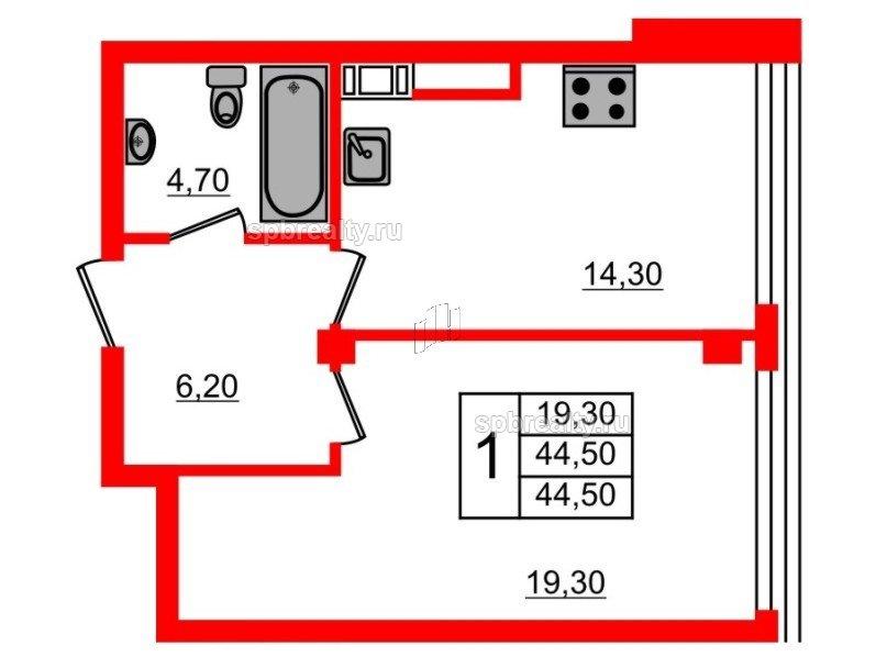 Планировка Однокомнатная квартира площадью 44.5 кв.м в ЖК «Fusion»