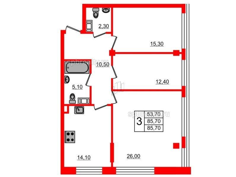 Планировка Трёхкомнатная квартира площадью 85.7 кв.м в ЖК «Fusion»