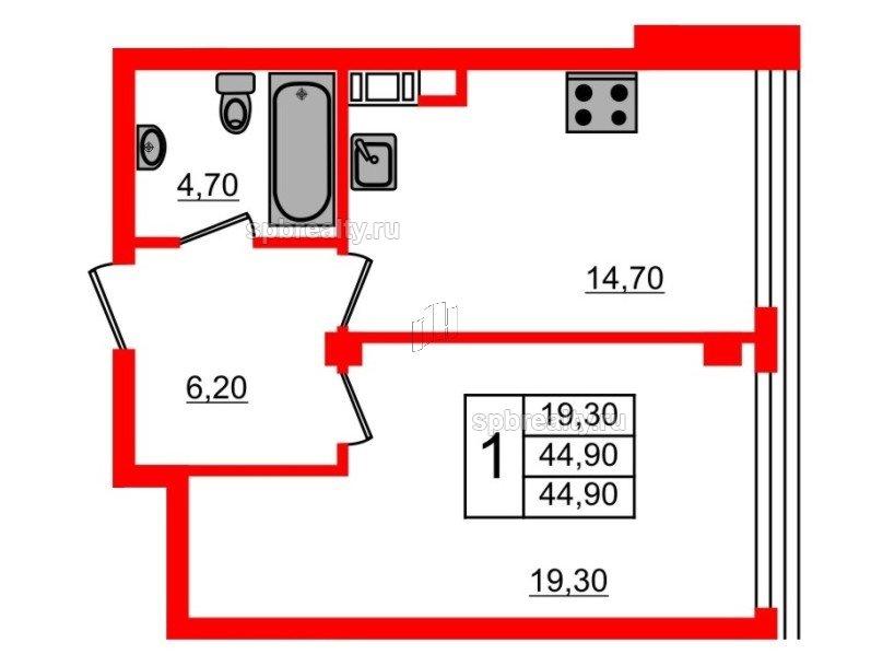 Планировка Однокомнатная квартира площадью 44.9 кв.м в ЖК «Fusion»